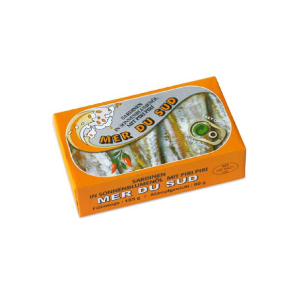 import maroc mondial Sardines à l'huile de tournesol pimentée 125G Mer du Sud