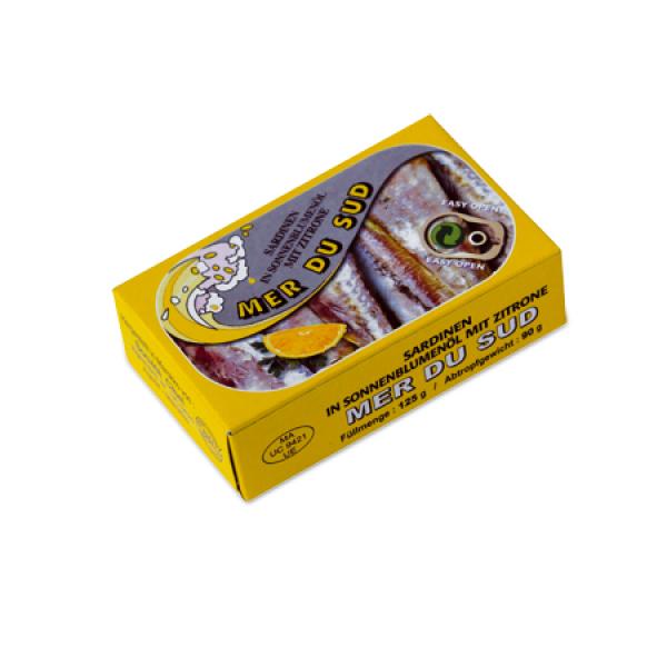 Sardines à l'huile de tournesol et au citron 125G Mer du Sud